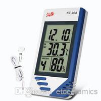 medidor de humedad del termómetro al aire libre al por mayor-3 en 1 LCD Digital Indoor Outdoor Temperature Tester Termómetro higrómetro Humedad metro reloj KT-908