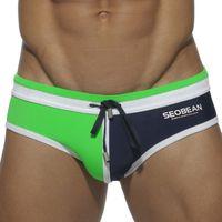 Wholesale Underwear Men Swim - Wholesale-Summer Fashion Swimwear Sexy Men Swim Briefs 2016 Seobean Brand Swimsuit Low Rise Gay Man Bulge Swimming Nylon Underwear Suit