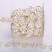 Wholesale Clothing Accessories Beads Pearls - 20mm 5yards Sewing Accessories Ivory Half Pearl Flower Flatback Pearls Sew On Beads For Clothes Bags Decoration DIY