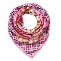 Wholesale Hijab Scarf Flower Print - 90cm*90cm 2016 New Fashion Silk Square Scarf Women Imitated Silk Rose Flower and Houndstooth Printed Scarves Shawl Hijab