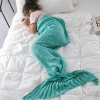 ingrosso nuove borse a crochet-Nuova coperta della sirena della maglia della sirena lavorata a maglia per i bambini Sacco a pelo dei bambini Coperta della sirena del letto del crochet