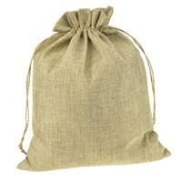 ingrosso sacchetti eco friendly iuta-100pcs multi size doppio colore naturale juta tela Drawstring borse sacchetti di immagazzinaggio del regalo per la decorazione di nozze cosmetico gioielleria di articoli vari
