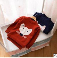 Wholesale Mouse Jumpers - Infants knitting sweater Baby boys girls cotton Cartoon mouse pullovers Winter Toddler kids velvet long sleeve jumpers Kids clothes C2048