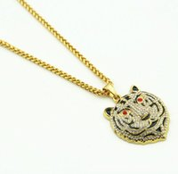 Wholesale Tiger Head Pendants - Hot Sale New Tiger Head Crystal Necklace Street Wind Heavy Drill Full Diamond Hip hop Jewelry Pendant
