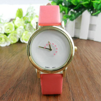 Wholesale Second Hand Dresses - 2016 Autorotation Second Hand Watches New Fashion Leather Watch Women Casual Quartz Watch Analog Dress Watch Wristwatch
