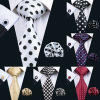 krawattenmanschettenknöpfe großhandel-Polka Dots Style Series Seidenkrawatte Set Großhandel Krawatte Einstecktuch Manschettenknöpfe Classic Silk Jacquard Woven Herren Krawatte Set 8,5 cm Breite Business