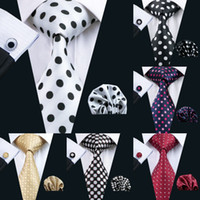 Wholesale yellow knitted tie resale online - Polka Dots Style Series Silk Tie Set Necktie Hanky Cufflinks Classic Silk Jacquard Woven Men s Tie Set cm Width Business
