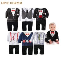 Wholesale Newborn Neck Tie - Hot New Newborn Baby Rompers Clothing Baby Boys Clothes Tie Gentleman Bow Leisure Infant Toddler One -Pieces Jumpsuit
