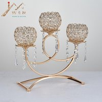Wholesale Road Bridge - Crystal candle holder golden plated 3-arms metal candelabra with pendants arch bridge shape home decoration or wedding road lead