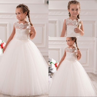 Wholesale Girl S Pageant Dresses - 2016 white dress for communion lace applique ball gown flower girls dress tulle beaded girls pageant