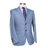Wholesale Tailor Made Free Shipping - Wholesale-wool fabric small check two-piece suit, grey blue,single button two, nortch lapel, custom tailor made man's suit free shipping