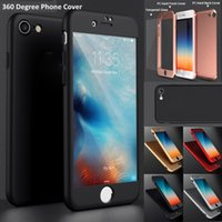 Wholesale New Back Iphone Glass - New 360 Degree Full Cover For iPhone 7 iPhone 7 Plus Hard PC Cover Case with Tempered Glass Protective Front Back Shockproof Cover