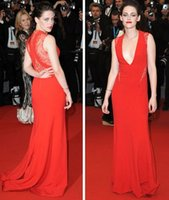 Wholesale Kristen Stewart Sexy Dress - Kristen Stewart in Reem Acra Deep V Gown with Lace Trim at Cannes Film Festival Celebrity Dresses Evening Gowns
