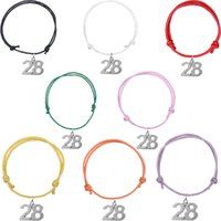Wholesale Top Selling Bangle Bracelets - TOP Selling Wax Cord Bracelets Silver Plated No.28 Pendant Bangle Unique Wristbands For Gift Jewelry