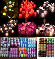 Thailand-Art weiße / Regenbogen / blaue / grüne / Sonnenuntergang- / purpurrote / rosafarbene handgemachte Baumwollkugel-Schnur-Lichter, die XMAS Patio-Dekorationdekoration 35pcs / lot wedding sind
