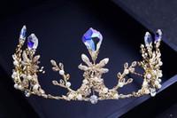 ingrosso capelli gialli coreano-Sposa sposa coreana Retrò Fresco Giallo Corona di cristallo Fascia per capelli Accessori per capelli Copricapi da sposa