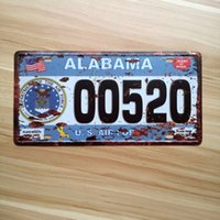 Wholesale- ALABAMA USA Vintage bar pub cafe shop Restaurant plaque rétro plaque d'étain peinture métallique Car License Plate décoration murale en fer 15X30CM