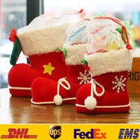 Wholesale events bags - Xmas Candy Boots Bag Christmas Tree Decoration Ornaments Red Kids Children Adult Event Party Gifts Wrap HH-T20
