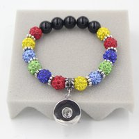 Wholesale Puzzles Bar - Wholesale Free Shipping New Arrival 18mm Snaps Jewelry, Shamballa Beads Stretch Autism Puzzle Style 18mm Snaps Button Charm Bracelets