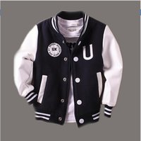 Wholesale Baseball Jacket Lined - Baby Boy Clothes Boys Jacket 2016 Spring Letter Boys Outwear For Children Brand Kids Coats For Boys Baseball Sweatershirt