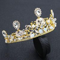 kostenlose köder des verschiffens großhandel-Luxus Hochzeit Braut Kristall Tiaras Kronen Prinzessin Königin Festzug Prom Strass Tiara Stirnband Hochzeit Perle Haarnadeln Kostenloser Versand