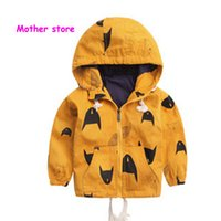 Wholesale 4t Long Cardigan - 2-7Y baby boy orange jacket tops with cap children kids long sleeve cartoon clothes coat cardigan In spring