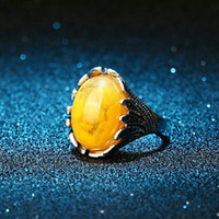Wholesale Peacock Rings - trendy Resin big oval green white yellow Gem Imitation black agate opal jade ruby amber ring Phoenix ring Peacock feather rings women j293