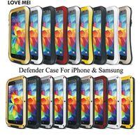 Wholesale Mei S4 - Waterproof LOVE MEI Defender Cover For iPhone 6 Plus i7 5 5S 5C Galaxy S3 S4 Note 4 Powerful Shockproof Metal Armor Case Heavy Duty Skin