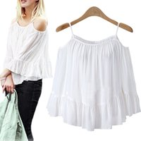 Wholesale Loose Off Shoulder Tops - Wholesale-Summer Fashion Women Chiffon Camis Sexy OFF Shoulder Loose type Ruffles Tops Short Length Solids Color Camis High Quality