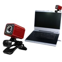Wholesale Mega Wholesale China - New USB 2.0 Full HD 1080P 12M Pixel 4 LED Computer Webcam Web Cam Camera MIC for PC Red