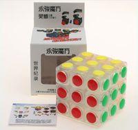 Wholesale Bump Toys Wholesale - Yongjun transparent 3x3x3 Magic Cube Colourful Bump Blocks Puzzle Magic Cube Learning & Educational Cubo Magico Toys For Children Kids Toys