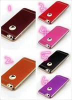 Wholesale Iphone 5s Leather Chrome Case - Bling Litchi PU Leather Grain Soft TPU Case For Iphone 7 Plus I7 Iphone7 6 6S SE 5 5S TPU Plating Chrome Electroplated Luxury Cover 60pcs