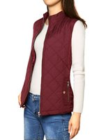 Wholesale Button Up Vest - Wholesale-Woman Zip Up Front Stand Collar Slant Pockets Quilted Padded Vest