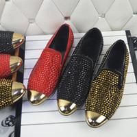 Wholesale Teal Crystal Shoes - Shinny Men Gold Diamond flat Crystal metal toe cap-toe oxfords men dress shoes wedding shoes size 39-46
