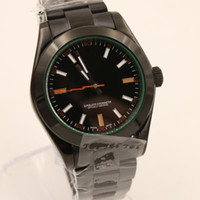 Wholesale Butterfly Green - High Quality Wristwatch Automatic Mechanical Pvd Mens watch Stainless Steel 116400GV Black Dial Green Automatic Men's Watches