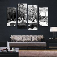 Wholesale Christmas Oil Pictures - Christmas Gift 4 Panel Gray Series Classical Architecture HD Picture Modern Home Wall Decor Canvas Print Painting for House Decor Unframed
