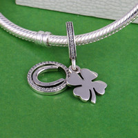 Wholesale Silver Clover Bead Charms - Memnon Jewelry 2017 Spring Lucky Day Flower Pendant Charms Beads For Jewelry Making 925 Sterling Silver Four-leaf Clover Horseshoe Charm