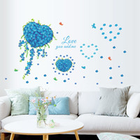 PVC blue butterfly poster - Romantic Love You And Me Blue Heart Flower Butterfly Wall Sticker Decals Wallpaper Poster Mural TV Living Room Wedding Decoration