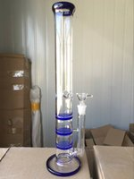 neue art hookah großhandel-Neue Ankunft Neue Art Drei Honeycomb Perc Bohrinsel Glas Bongs Grün / Blau 17 Zoll Hoch 18,8mm Glas Wasserpfeife Mit Glasschüssel
