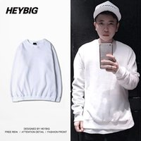 Wholesale Tracksuits China - White Solid hoodies for MEN 2016 NEW hip hop Sweatshirts Fleece Warm tracksuits Crew Neck Lover Clothing S-3XL China Size