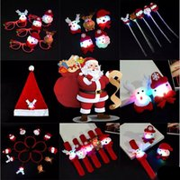 Wholesale Santa Hat Flashing Light - Various Christmas Decorations LED Santa Claus hat braid brooch Bracelet circle elk Snowman Hair bands glasses string lights