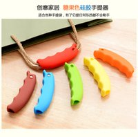 Wholesale Silicone Carrying Handle - 500pcs  lot Carrying Handle Tools Silicone Knob Relaxed Carry Shopping Handle Bag Clips Handler Kitchen Tools