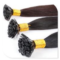 düz bağlanmış saç uzatmaları toptan satış-Toptan-Sıcak 100% Gerçek Saç 6A 1g / Strand 100 g / paket önceden bağlı Keratin saç uzantıları Düz Ucu Saç
