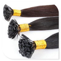 hebras de queratina al por mayor-Venta al por mayor-caliente 100% Real Hair 6A 1g / Strand 100g / pack Pre-bonded Keratin extensiones de cabello Flat Tip Hair