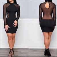 Wholesale Sexy Hollow Slim Lace Dress - Women bodycon dress Autumn Sexy Black Perspective Mesh lace dress Women's Long Sleeve Hollow Out Slim Dresses bodycon dresses night out club