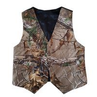 gilet photo enfants achat en gros de-Real Photos Custom Top Sale Boy Camo Vest Enfants Tenue formelle Vêtements de mariage pour garçon avec cravate Camouflage Outwear Outwear Cheap Wedding Wear Country