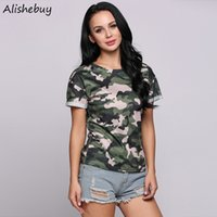 Summer Fashion Women T-shirts Casual O-Neck Short Cuffed Sleeve Camouflage T-Shirt Ladies Clothing Padrão Pullover Elastic Tops SVH032816