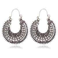 Wholesale Woven Baskets Wholesale - ancient silver national wind earrings retro alloy woven U-shaped flower basket exaggerated carved earrings earring National wind eardrop
