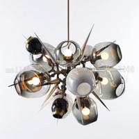 Wholesale Guest Room Lighting - BE161 Nordic Personalized Molecular Glass Bubble Ball Pendant Lamp Modern Minimalist Guest House Chandelier Villa Big Bang Pendant Lights