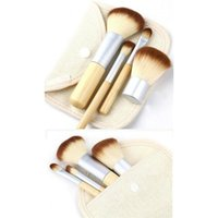 Concealer Make-up Pinsel 4er Set Set Professionelle flache Bambus Aufwendige Make-up Pinsel Werkzeuge Natürliche Bambus-Griff Geschenk Tasche Pinsel-Set